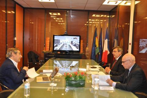 Visioconférence avec le président du gouvernement et Gilles Boeuf