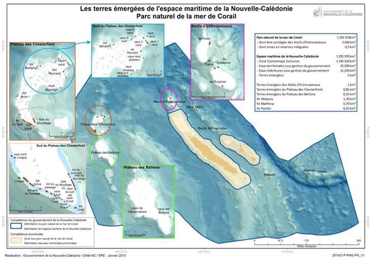 Détail des terres émergées situées dans le parc naturel de la mer de corail - DAM/GNC (Gouvernement de la NC)