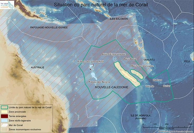 Mer de Corail et espace maritime de la Nouvelle-Calédonie, (c) DAM SPE.