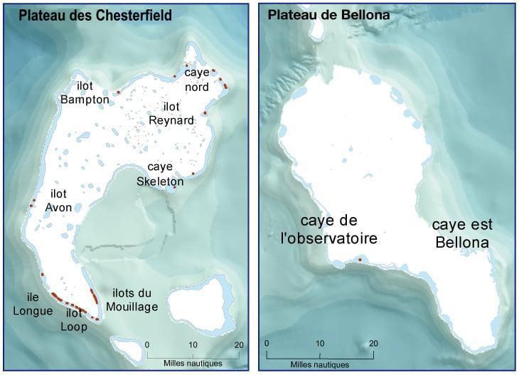Carte du plateau des Chesterfield et des Bellona, DAM SPE