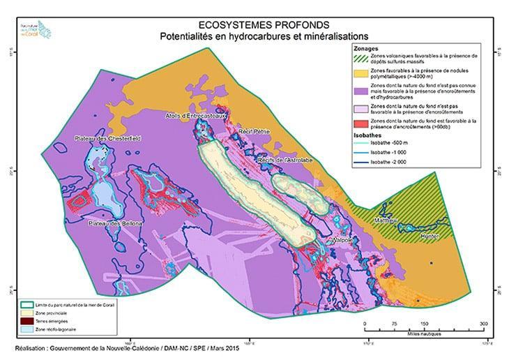 Synthèse des potentialités en hydrocarbures et minéralisations profondes du parc naturel de la mer de Corail