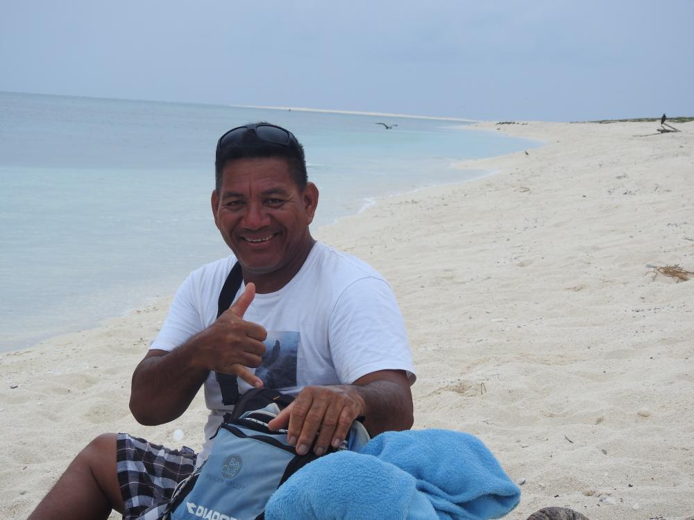Le traçage du trait et le comptage des traces tortues était journalier durant l'ensemble de la mission. ici, à l'îlot Huon, atolls d'Entrecasteaux (c) DAM SPE