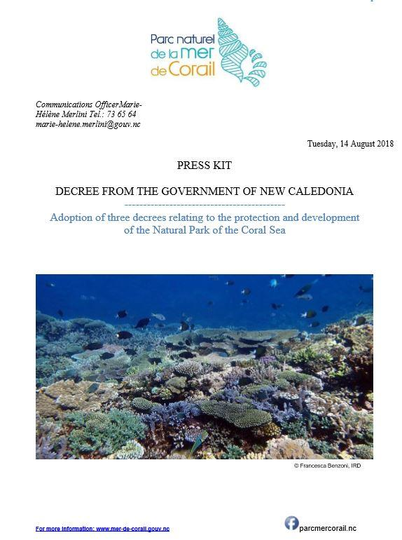 Kit Press Approval decrees marine reserves, professional tourism and Entrecasteaux's new action plan