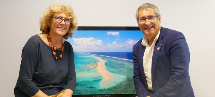 Claude Payri, vice-présidente, et Gilles Boeuf, président du comité scientifique du Parc naturel de la mer de Corail